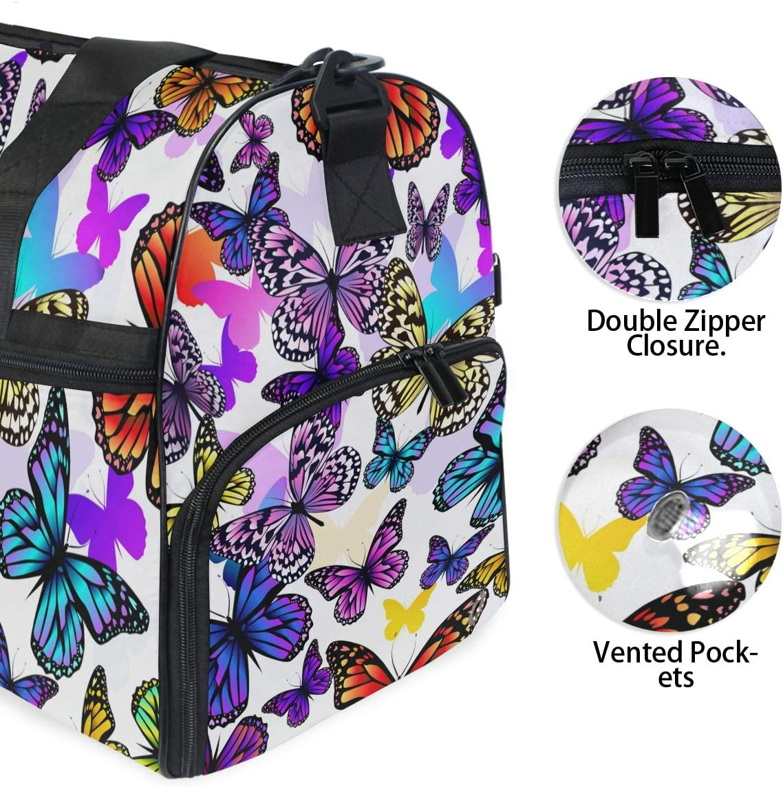 FAJRO Gym Bag Travel Duffel Express Weekender Bag Colorful Butterfly Group Carry On Luggage with Shoe Pouch