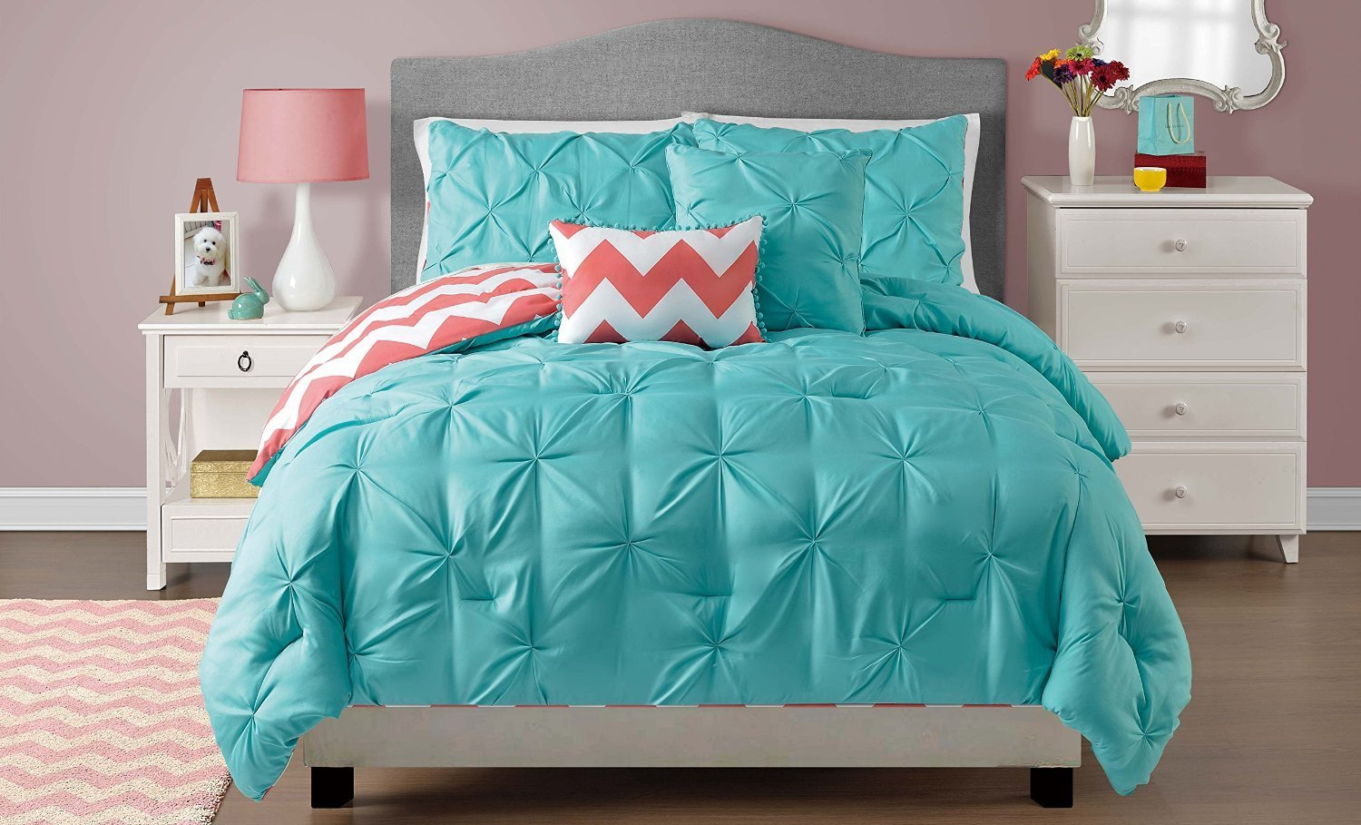 Queen / Full Sophia Turquoise Blue Pinch Pleat Bedding Reversible to Zig Zag Chevron Design- comforter set