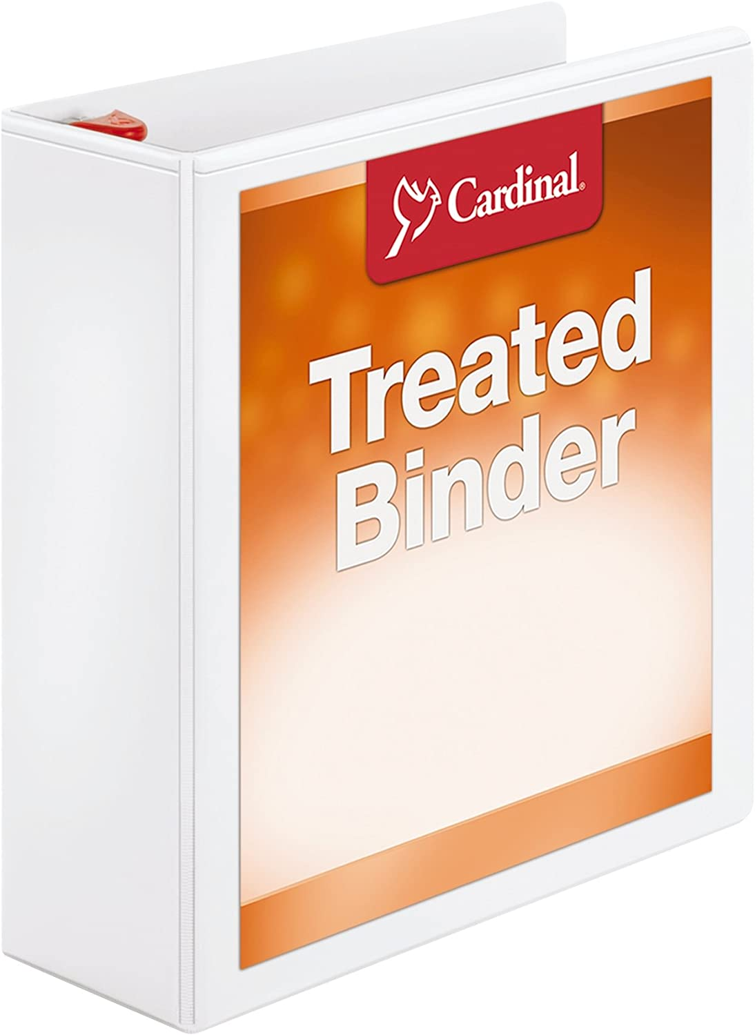 Cardinal 3 Ring Binder, 3 Inch Treated Binder, Locking Slant-D Rings, Customizable ClearVue Covers, Holds 725 Sheets, White