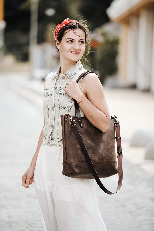 Women's Tote Bag Tote Bag Leather Tote Bag Women's Purse Carryall Shopper Women's Gift Birthday Gift Brown Leather Tote Bag By Kruk Garage by Amazon