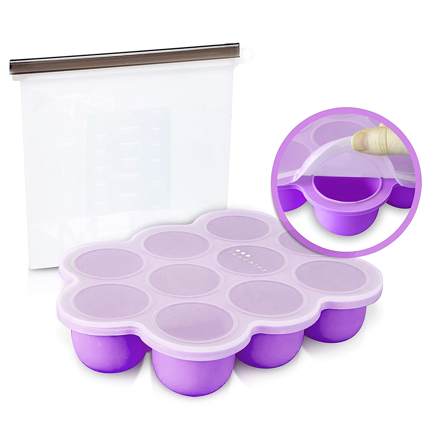 Baby Food Freezer Tray with Silicone Clip-On Lid Plus 1500ml Silicone Reusable Bag | The Perfect Storage Duo for Homemade Baby Food, Vegetable & Fruit Purees and Breast Milk (Pale Mauve)