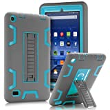 """TOPSKY Fire 7"""" (2015 release) Case,[Kickstand Feature],Shock-Absorption/High Impact Resistant Heavy Duty Armor Defender Case For Amazon Fire 7 Inch Tablet,with Stylus, Grey/Blue"""