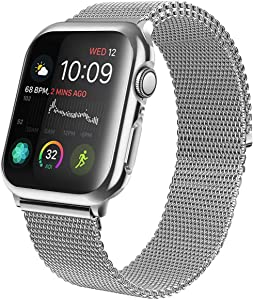 HAKKAX Band Compatible with Apple Watch Band 38mm 40mm 42mm 44mm, Stainless Steel Integrated Mesh Magnet Wrist Strap for iWatch Series 6/SE/5/4/3/2/1, Silver, 42mm/44mm