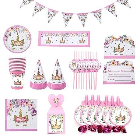 larfunffk 85pcs Juego de cubiertos rosa unicornio fiesta de ...
