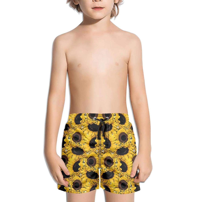 JIONONDS Yellow Sunflower Background Kids Stretch Board Printed Ruched Swim Shorts