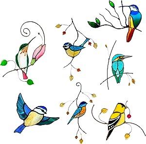 Mogam 7 Pcs Window Alert Birds Stickers - Anti Collision Clings Decals Decor Decorative Bird Window Decals for Sliding Glass Doors,Glass Alert Bird Deterrent, Stop Birds Flying Into Windows