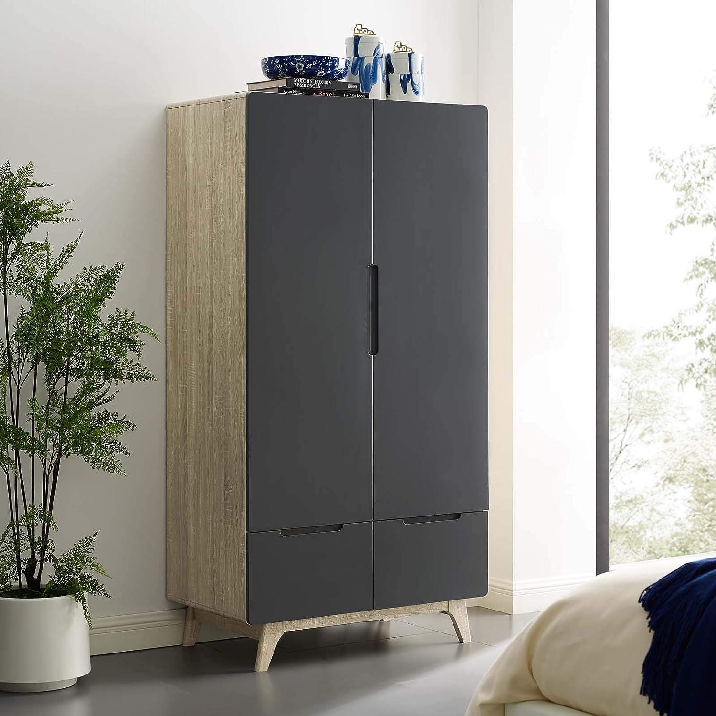 Modway Origin Contemporary Mid-Century Modern Wardrobe Cabinet in Natural Gray