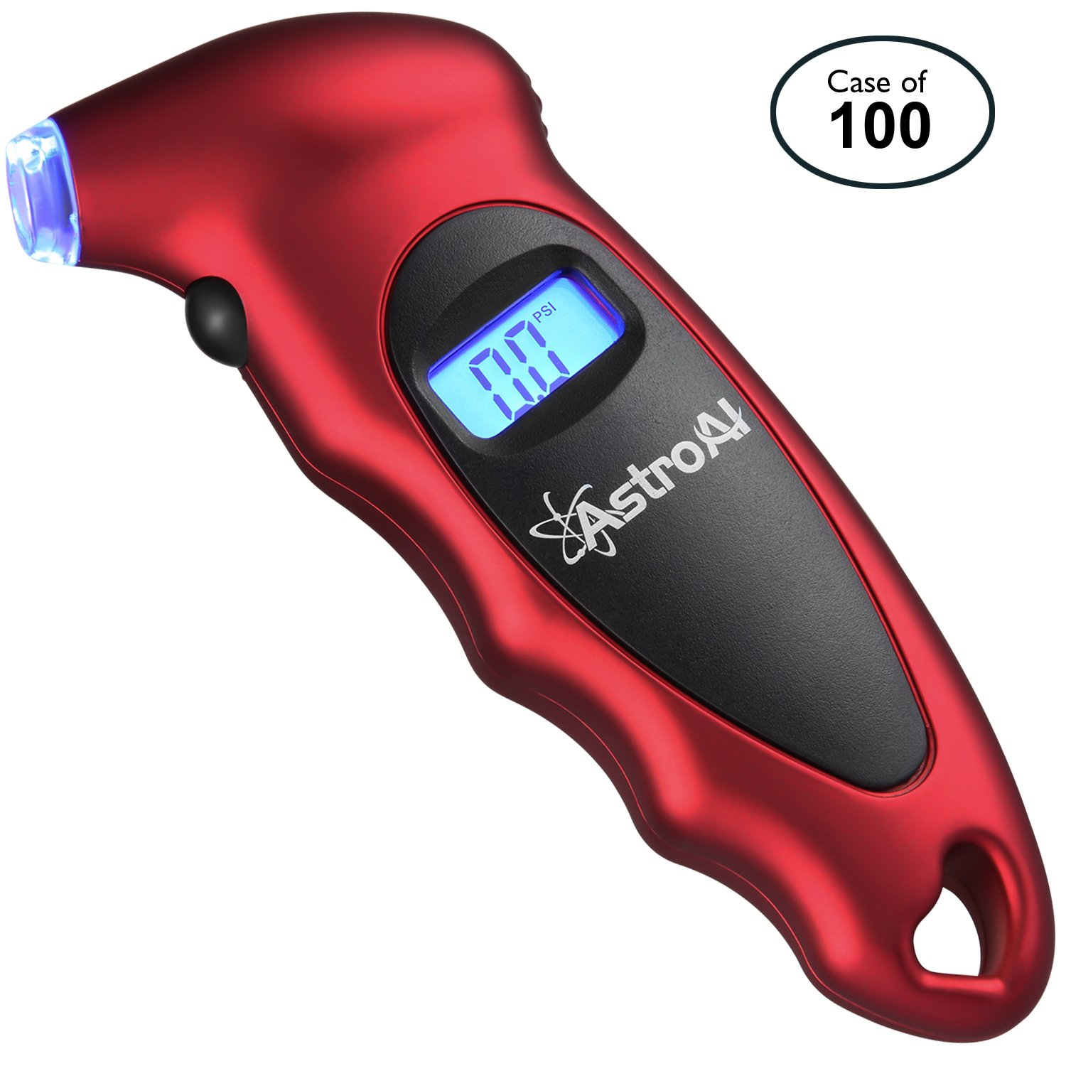 AstroAI Case of 100, Digital Tire Pressure Gauge 150 PSI 4 Settings for Car Truck Bicycle with Backlit LCD and Non-Slip Grip, Red