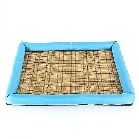 DaoRier Exterior Casa para Mascotas Cama de Perro Gato Puppy Conejo Mascota Antideslizante Plegable Suave Calentar con Cojín Extraíble Azul 30×40cm: ...