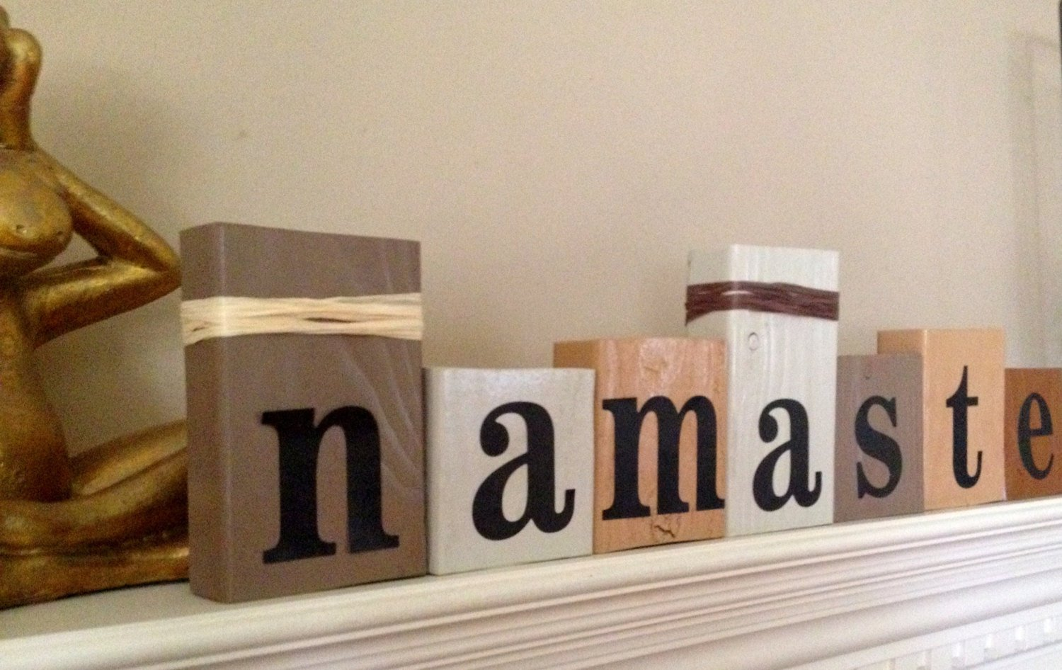 NAMASTE...yoga stacking wood word block set for inspirational home decor studio decor... by BLOCK PARTY (Image #2)