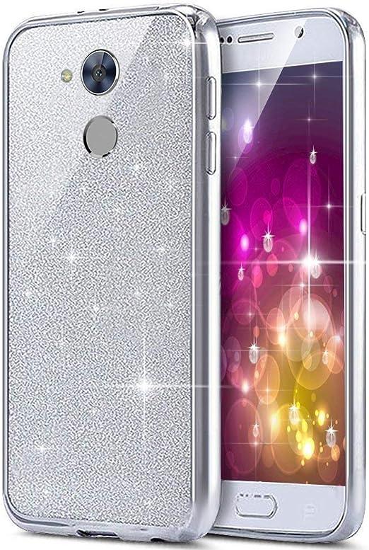 JAWSEU Funda Huawei Honor 6A,Brillante Purpurina llamativa Suave ...