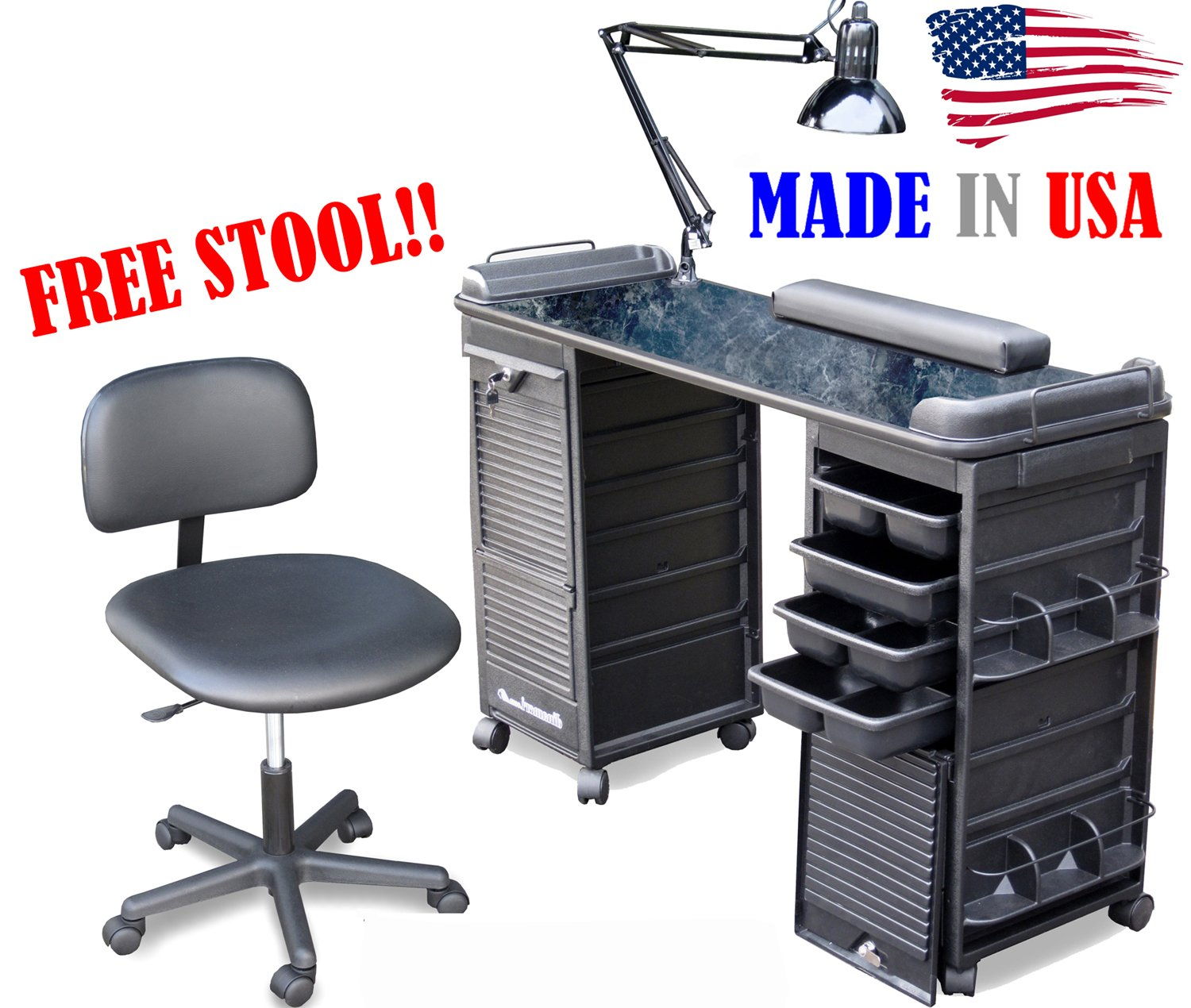 MANICURE TABLE SET WITH FREE STOOL B606-920 BM made in USA by Dina Meri