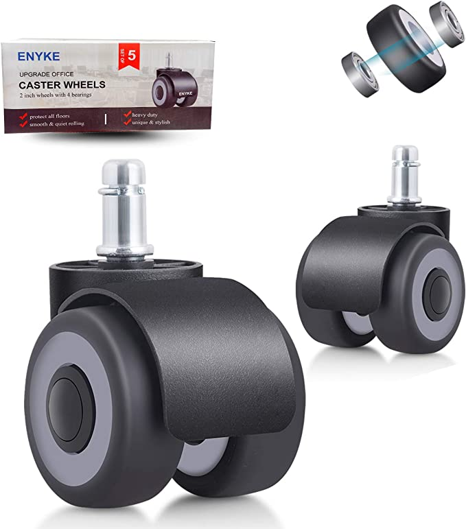 Blue, 2 inches 8T8 Replacement Office Chair Caster Wheels 2 inches Plug in stem 11X22 Rollerblade Style Heavy Duty Universal Size Safe for Hardwood Carpet Tile Floors 5 Set