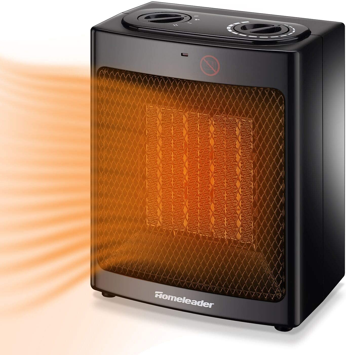 Homeleader Ceramic Space Heater for Home and Office, Portable Electric Heater with Adjustable Thermoststs, 750W/1500W NSB-150C6