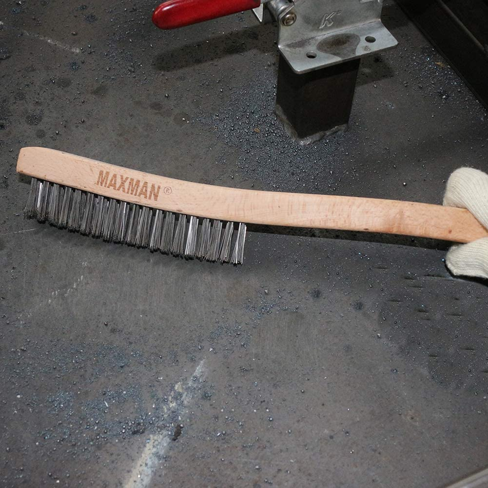 Wire Brush,Stainless Steel Wire Scratch Brush for Cleaning Rust with 14 Long Curved Beechwood Handle,Large