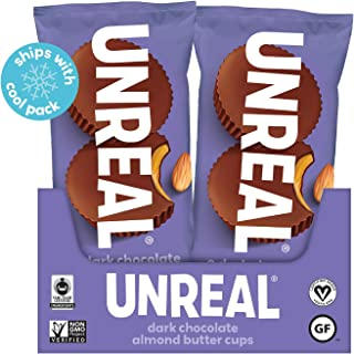product image for UNREAL Dark Chocolate Almond Butter Cups Snack Packs | Vegan, Gluten Free, Less Sugar | 12 Pack