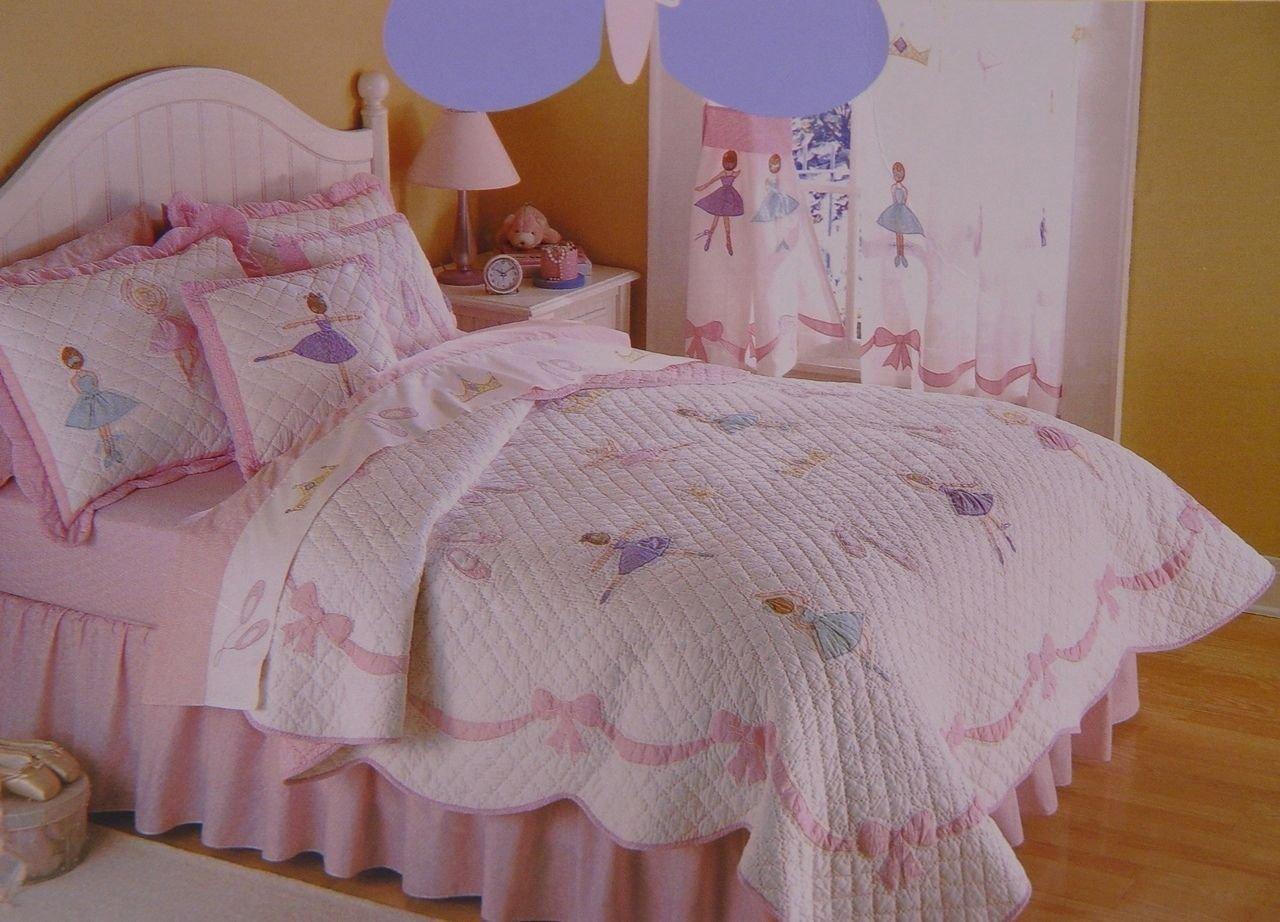 バレエレッスンRecitalバレリーナの女の子の7ピース寝具セット – キルト – シャム – シート – フル7pc B07B9KDSFW