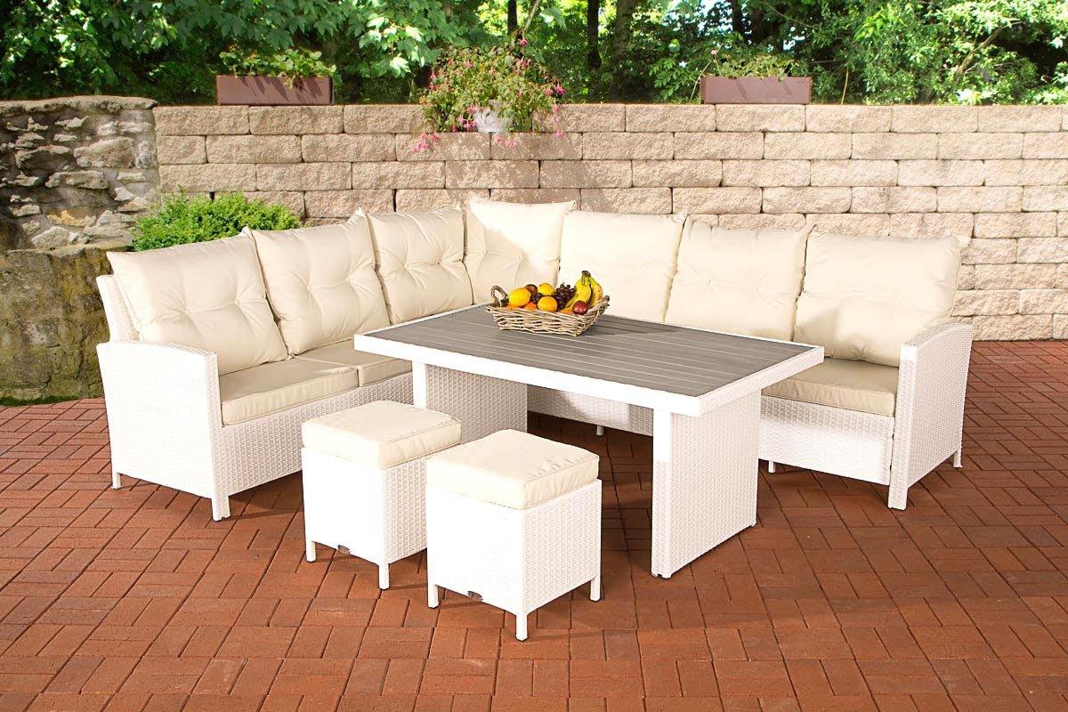 CLP Rattan Gartengarnitur VICENTA, das besondere Polyrattan Lounge Möbel Set (bis zu 4 Farben wählbar) weiß