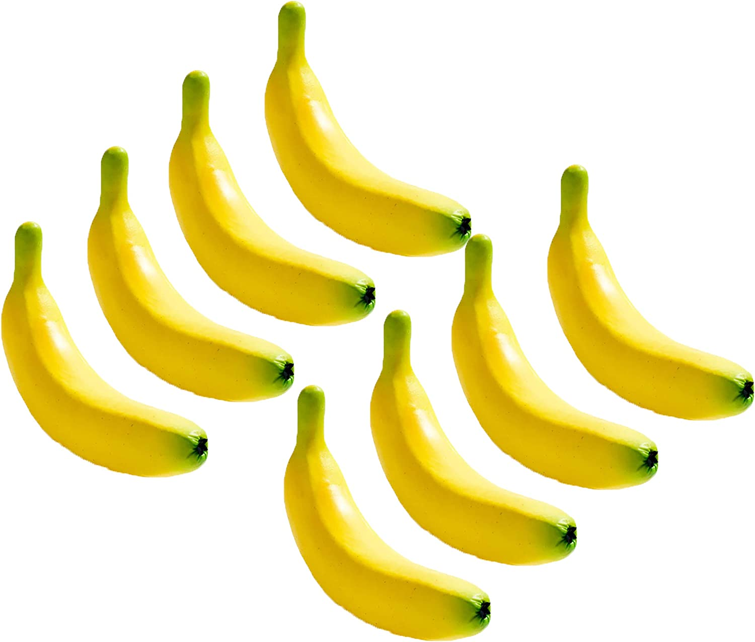 """Set of 8 Decorative Life Size Faux Bananas - Great for Decorating your Home, Creating a Store Display, and Photo Props - Realistically Colored and Sized Fruit - Measures 6.75"""" x 1.375""""(Bananas)"""