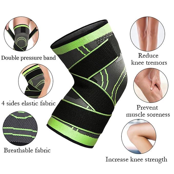 LoveStory - Rodillera de compresión con correa ajustable, protección profesional para la rodilla, protector transpirable, tejido 3D para alivio del dolor en ...