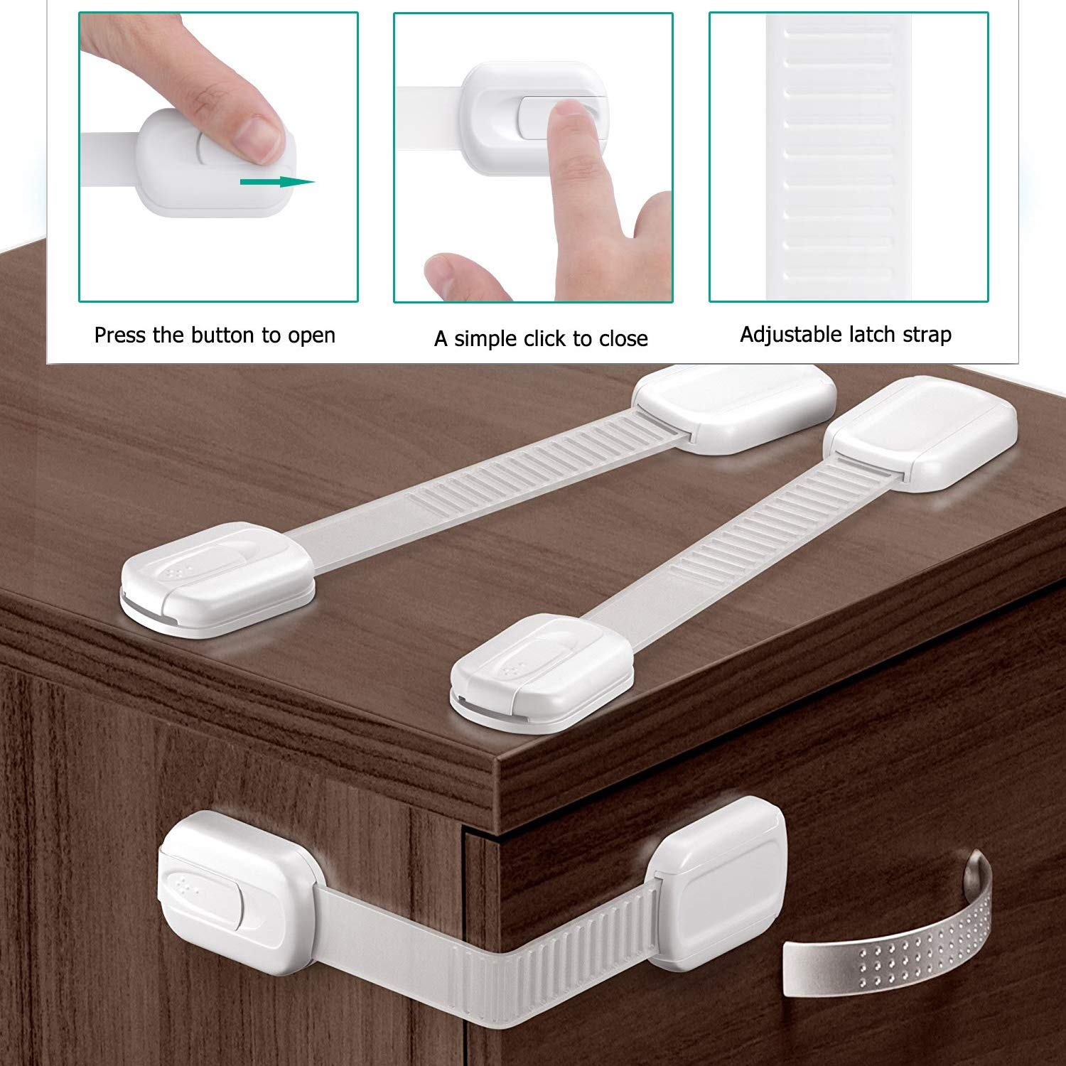 White Kitchen Cabinet Locks Child Safety OKEFAN 20 Pcs Baby Proof Kit Drawer Straps for Kids Bathroom Cupboard Oven Refrigerator Microwave Toilet Latches