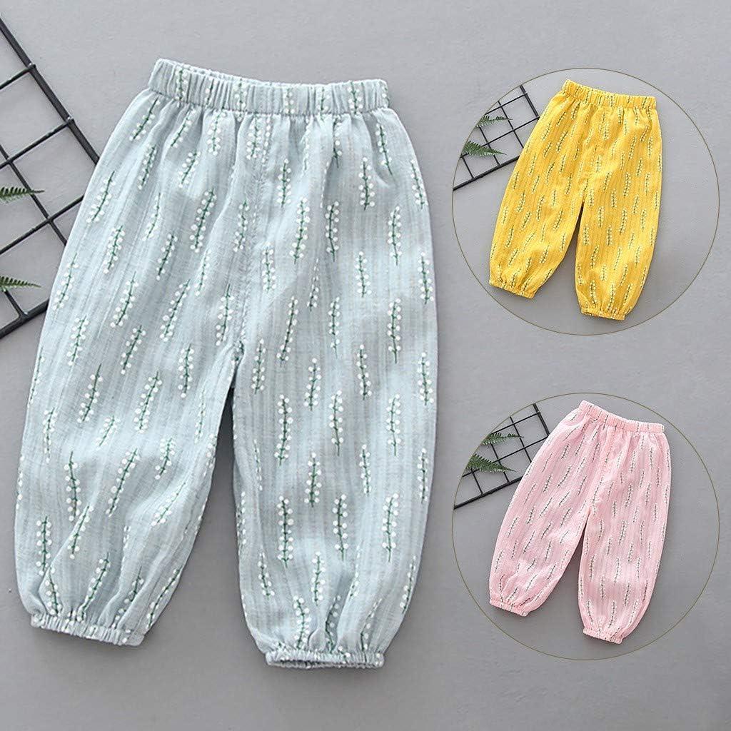 Kids Baby Girls Boys Comfy Mosquito Proof Lantern Pants Thin Cotton Hemp Air Conditioning Pants