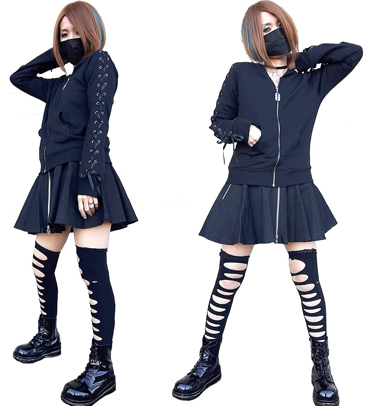 Hippies HELLCATPUNKS Womens Gothic Sweatshirts Hoodies Bone Coffin One Size PK-0019 Black