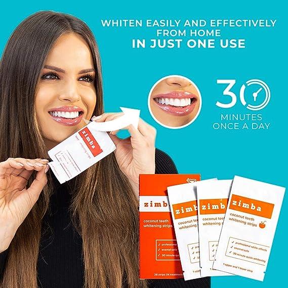 Amazon Com Zimba Teeth Whitening Strips Coconut Essential Oil