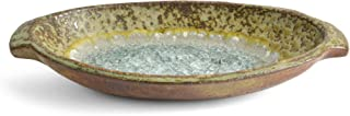 product image for Dock 6 Pottery 9-inch Oval Dish with Fused Glass, Copper