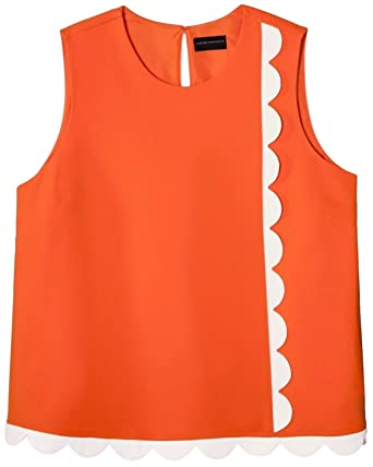 7ab57cc7c5a77 Victoria Beckham Women s Twill Tank Top Asymmetric Scallop Trim (Orange