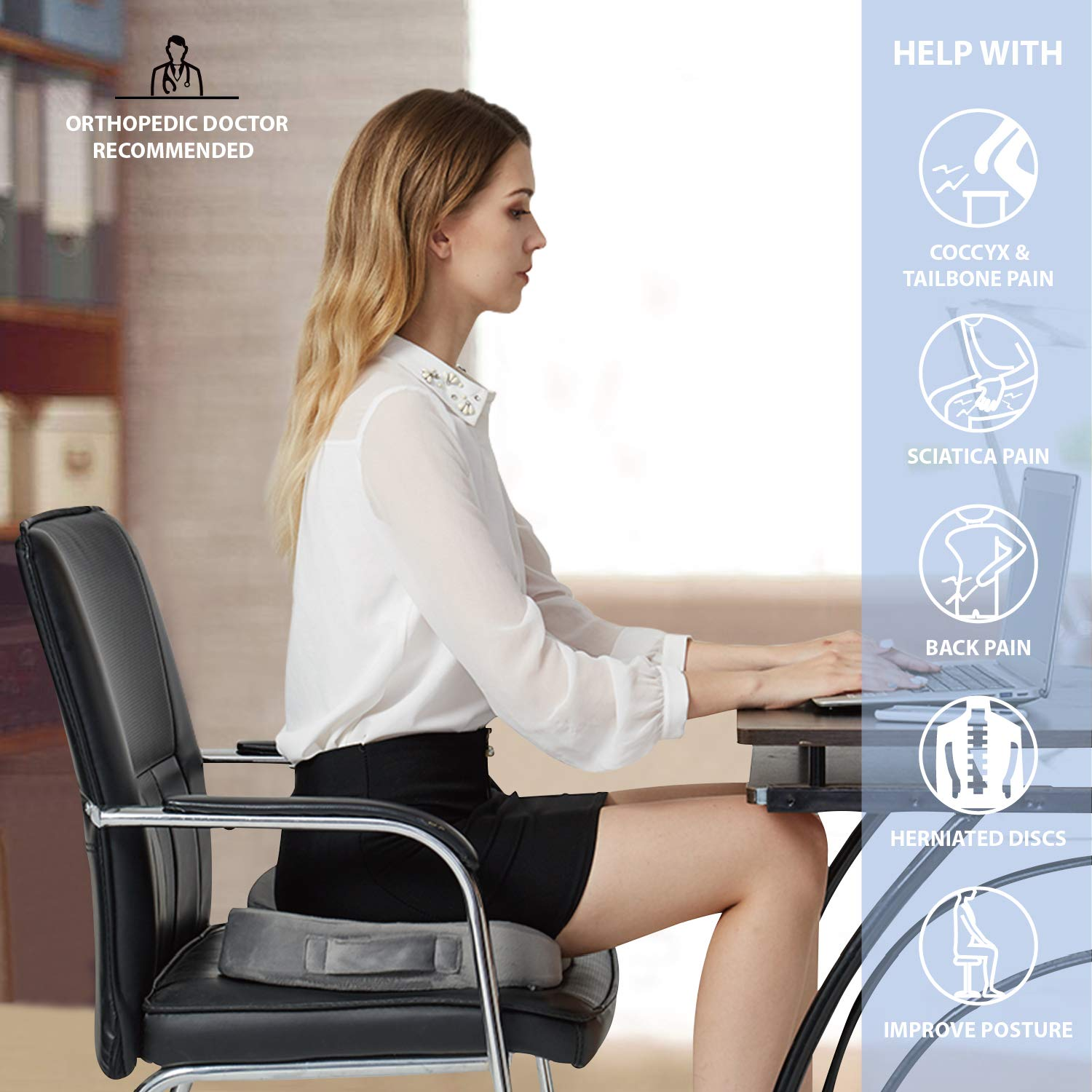 Office Chair Wheelchair Car Seat Cushion Sciatica Back Pain Relief Gray Orthopedic Memory Foam Coccyx Seat Cushion Tailbone Pain Back Seat Cushions Office Products