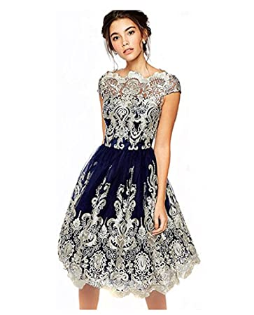 Amazon.com: Tmrow Vintage Floral Lace Dress Embroidery Short Sleeve ...