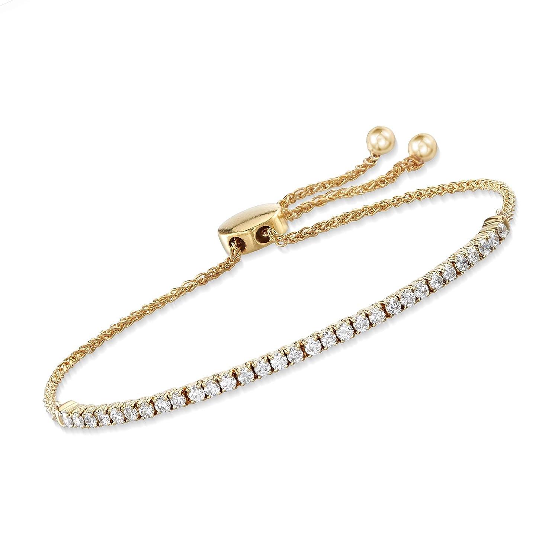 6024bfe9c3f Amazon.com: Ross-Simons 1.00 ct. t.w. Diamond Bolo Bracelet in 14kt ...