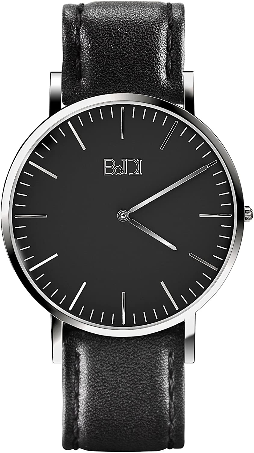 Watches for Men, BaIDI Quartz Wrist Watches Daily Life Waterproof Wristwatch with Leather Wristband
