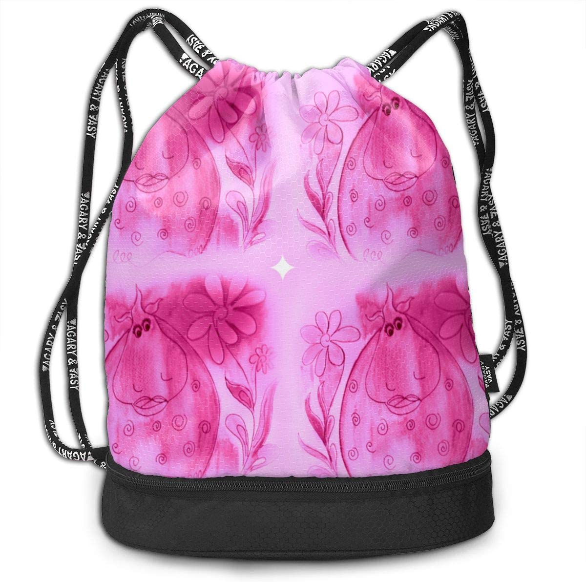 Hilda Splash Pink Daisys Drawstring Backpack Sports Athletic Gym Cinch Sack String Storage Bags for Hiking Travel Beach
