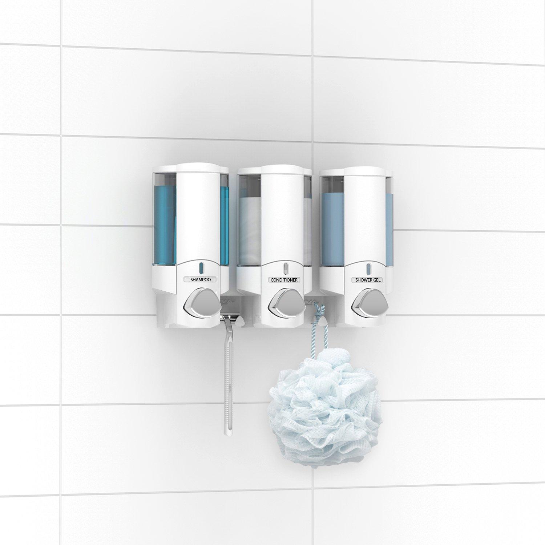 Aviva - Dispensador de jabón triple (para jabón, champú y gel), color blanco: Amazon.es: Hogar