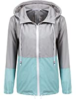 Soteer Women's Waterproof Raincoat Outdoor Hooded Rain Jacket Windbreaker (S-XXL)