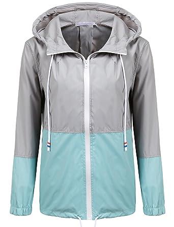 6a7c11dae SoTeer Women's Waterproof Raincoat Outdoor Hooded Rain Jacket Windbreaker  (Lake Blue ...