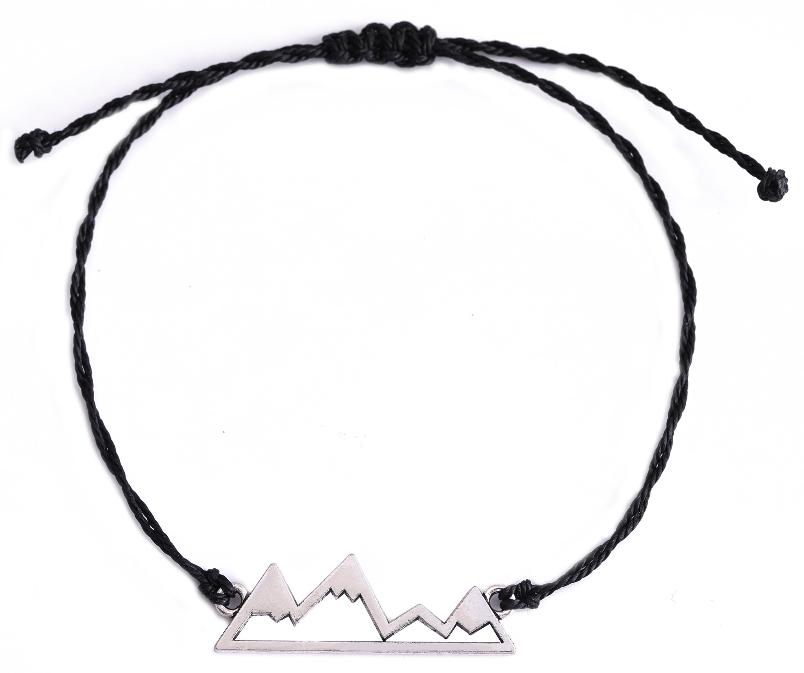 VASSAGO Handcraft Delicate Nature Snow Mountain Pendant Hiking Adventure Travel Charm Adjustable Wax Cord Bracelet (Black)