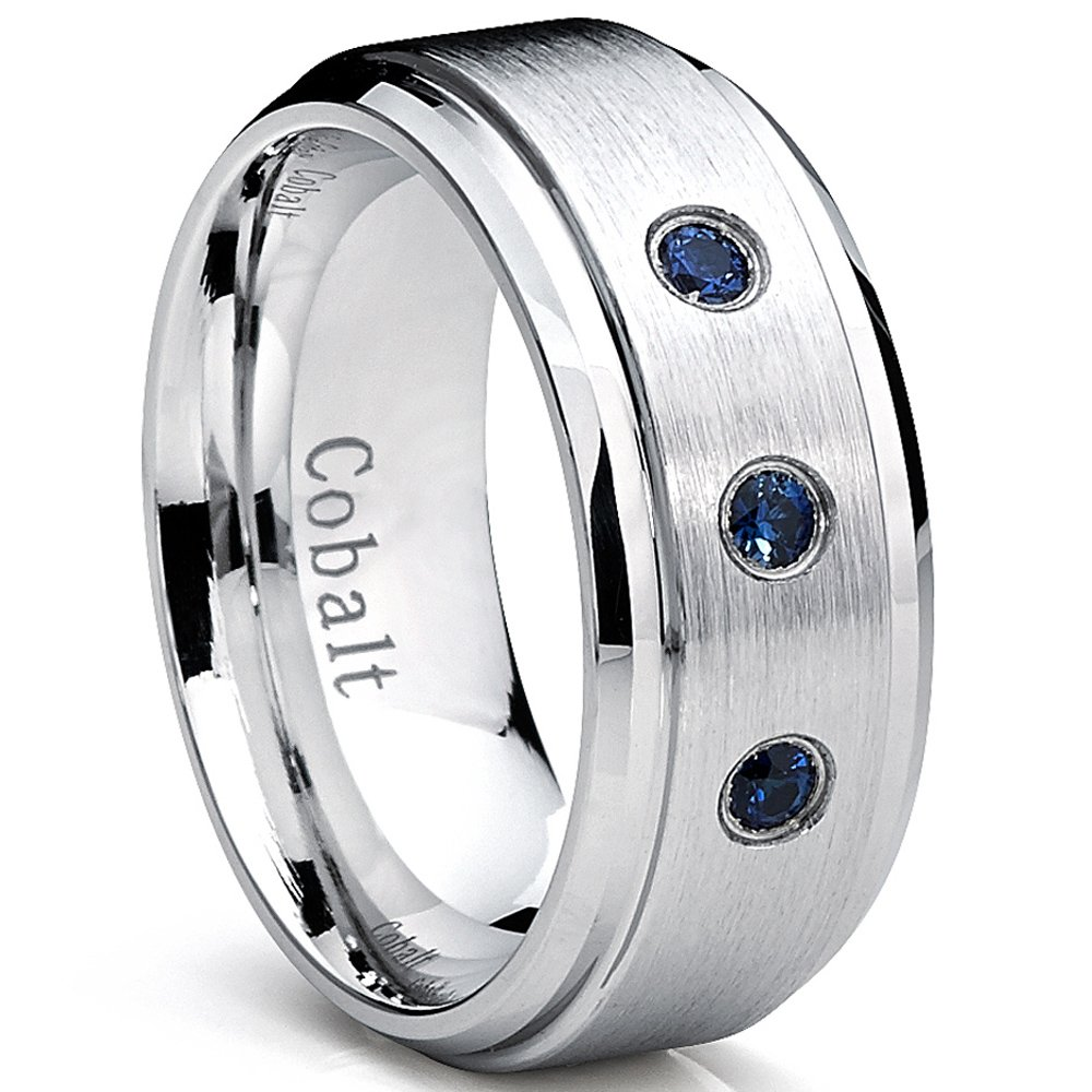 9MM Cobalt Mens Ring Wedding Band with Blue Sapphire Real Stones Comfort Fit