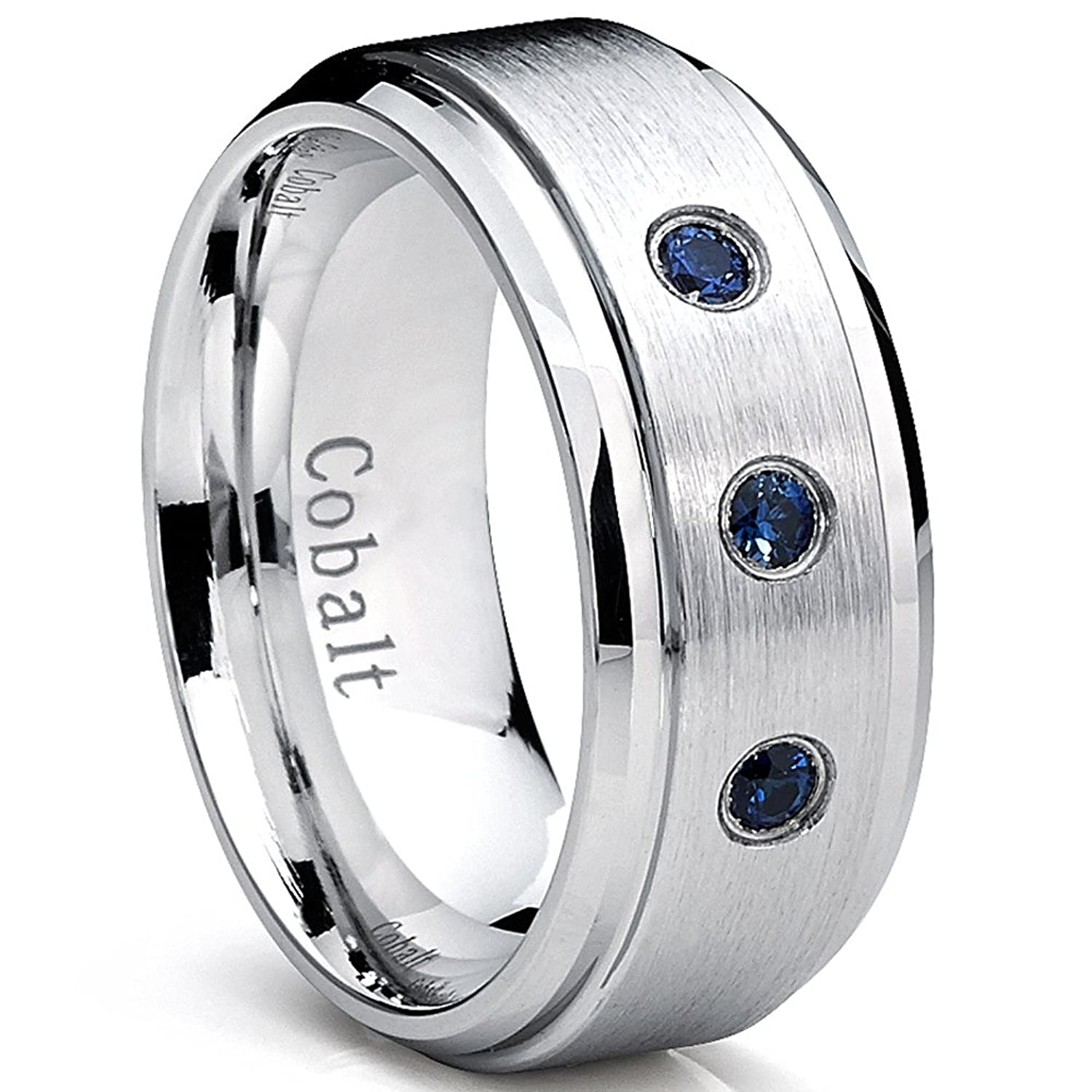 9MM Cobalt Mens Ring Wedding Band With Blue Sapphire Real Stones