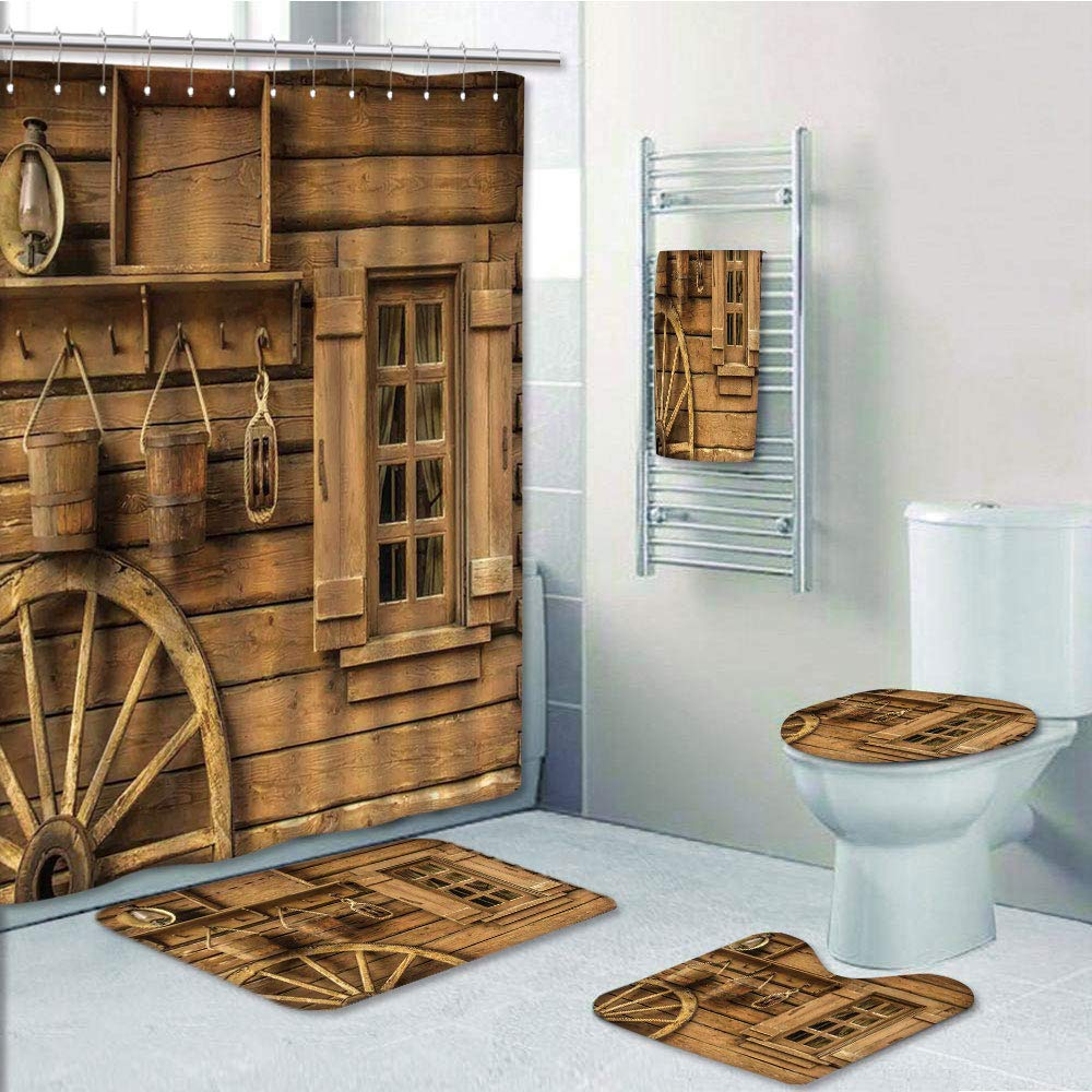 Bathroom Fashion 5 Piece Set shower curtain 3d print,Western Decor,Wagon Wheel next to a Rustic Wooden House with Vintage Lantern Window and Retro Buckets,,Bath Mat,Bathroom Carpet Rug,Non-Slip,Bath T