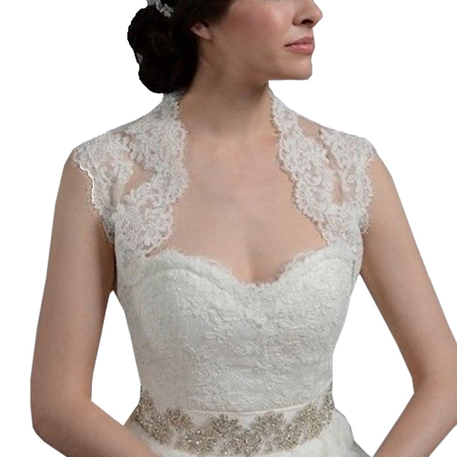 DEFEINA Women's Lace Short Sleeve Backless Bolero Jacket Wedding Bridal Wraps