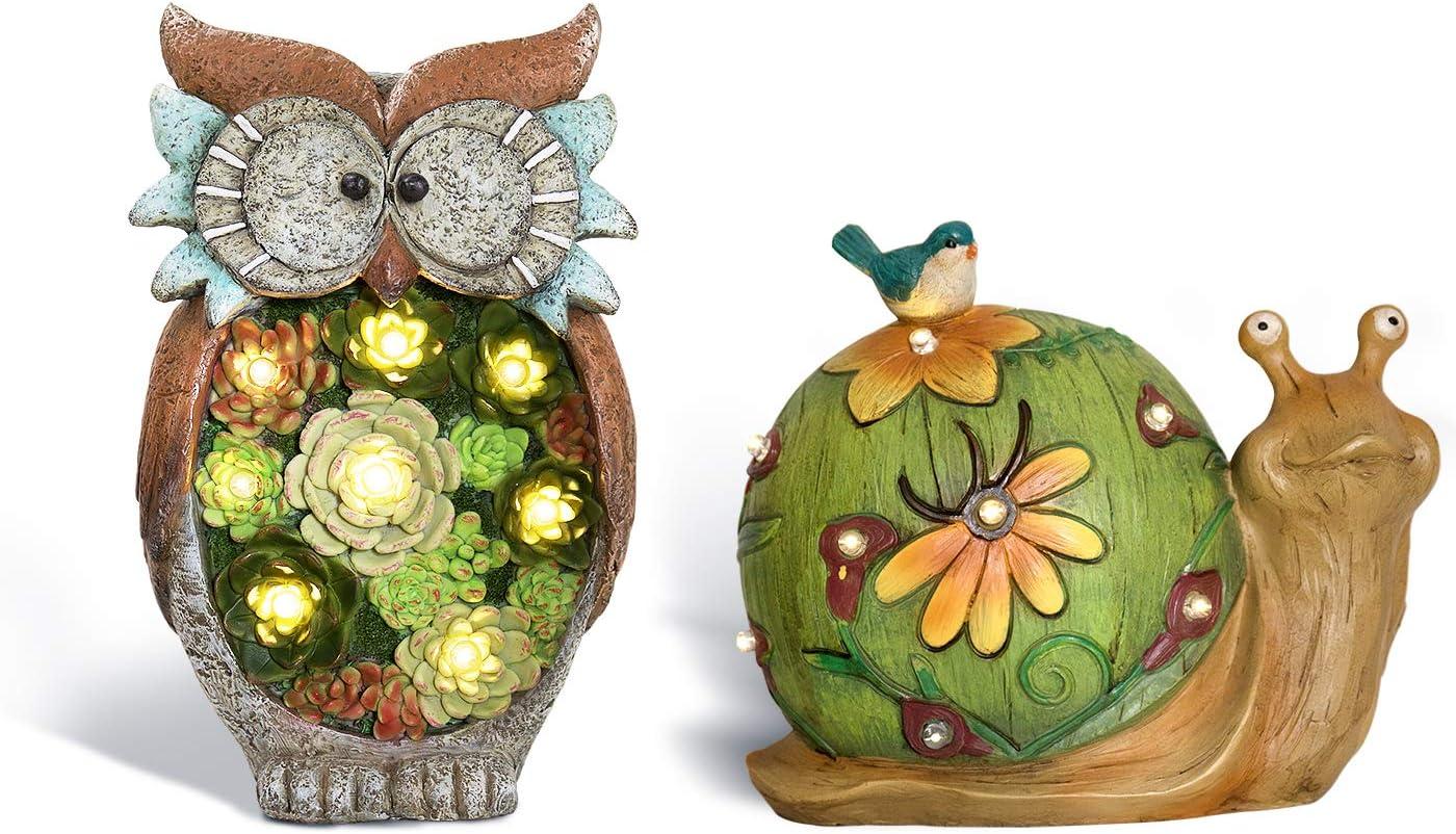 Snail & Owl Solar Garden Statue, Lawn Yard Decor Gift