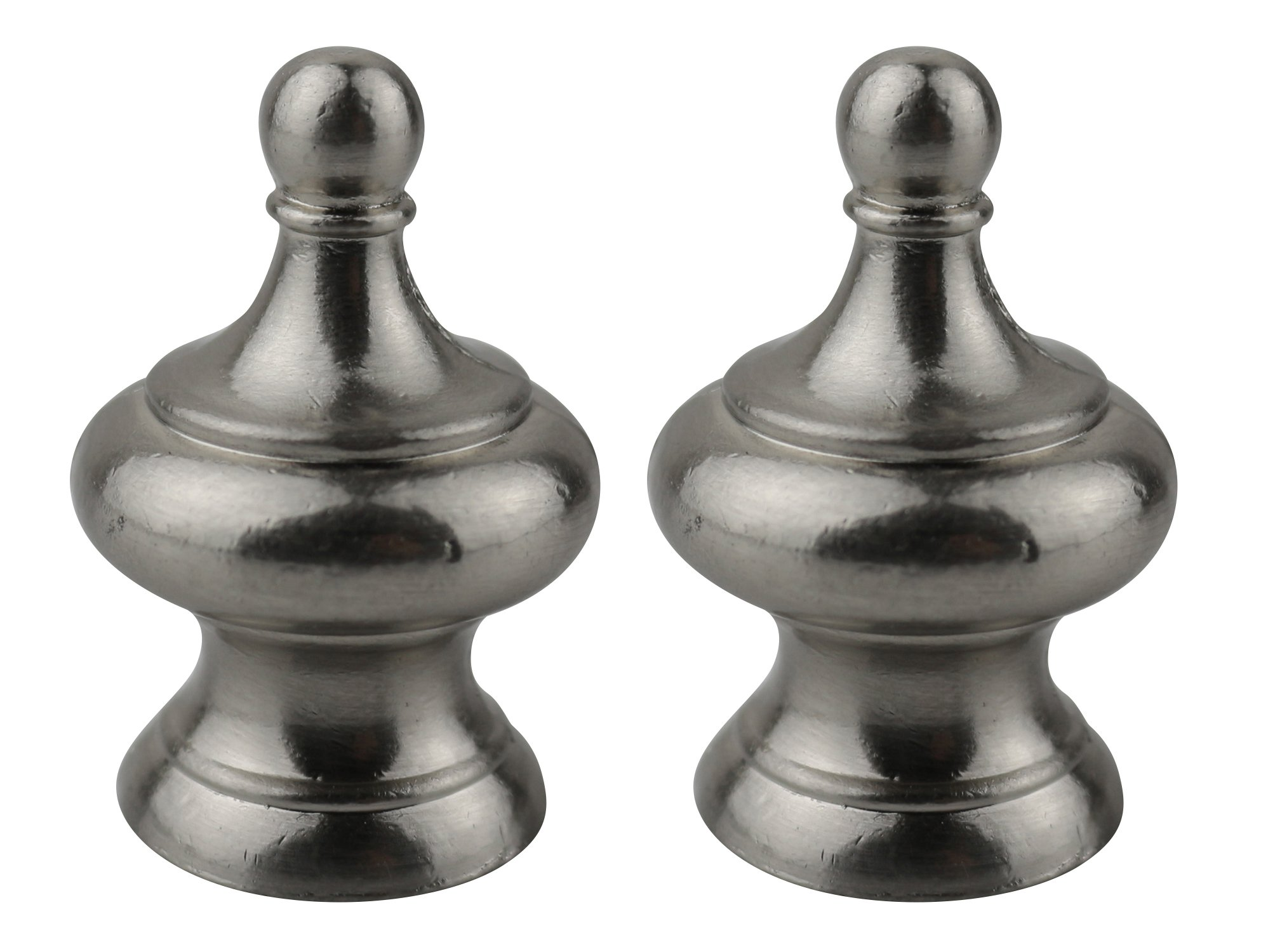 Urbanest Set of 2 Worsley Lamp Finial, 1 3/4-inch Tall, Brushed Nickel