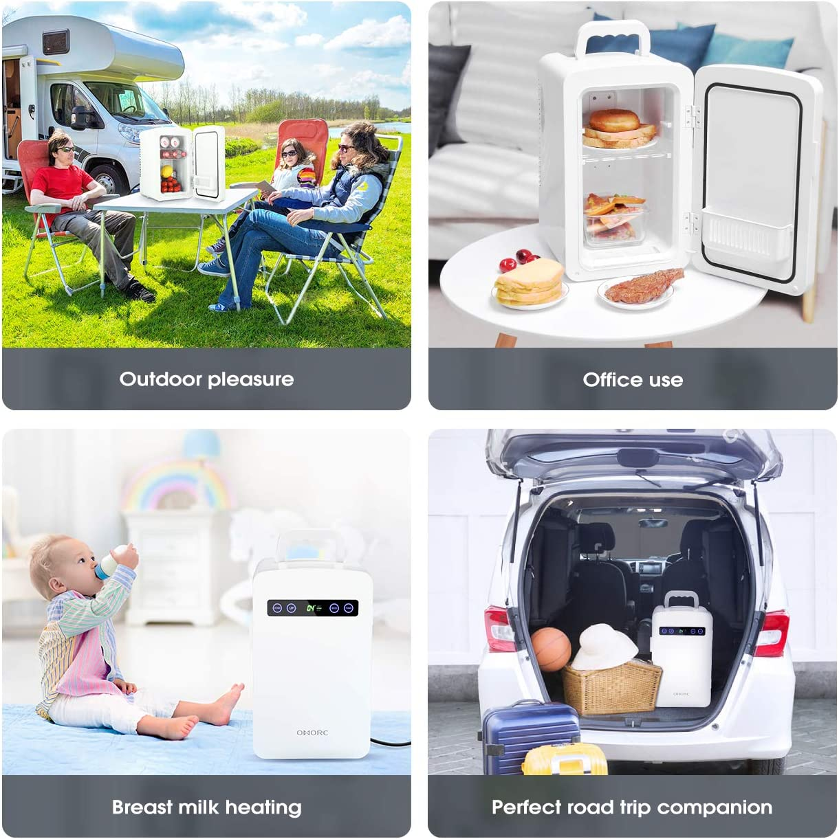 Home,Office White OMORC Mini Fridge 10L Portable Picnic Car Refrigerator with AC /& DC Adapters for Road Trip Camping Thermoelectric Cooler and Warmer with Dual-Core Cooling