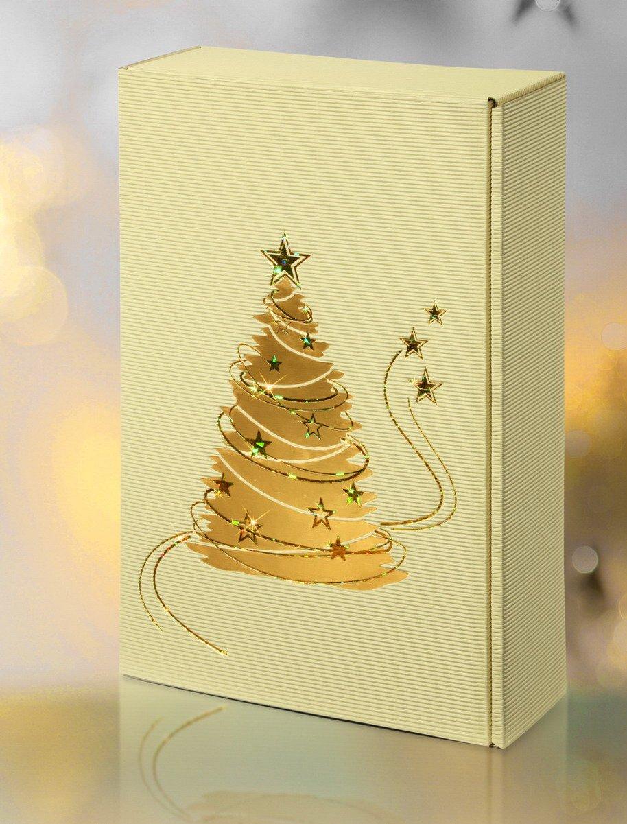 10 Stück Weinkarton 2 er Lichterglanz creme, Weihnachtskarton, Weinverpackung, Flaschenkarton für zwei Flaschen Wein/Sekt Weinkarton24.com