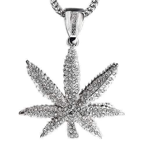 Bling Cartel Plata Tono de Marihuana de Hojas Cannabis Olla ...