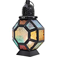 Lewondr Candelero Marruecos Colorido, Lámpara de Vidrio Colorida