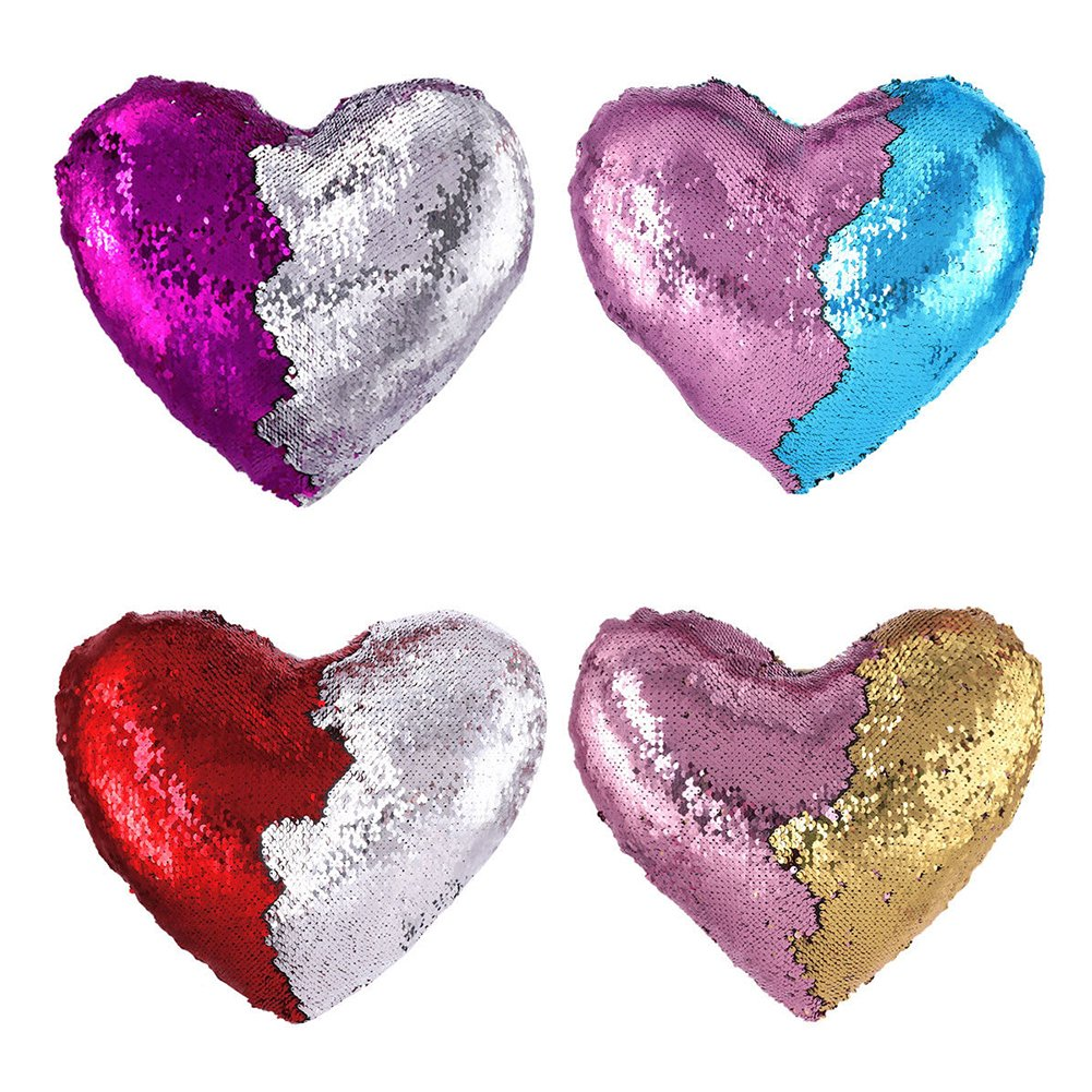 Heart Shape Sequin Pillow with Insert Mermaid Reversible Color Change Throw Shiny Two Color Flip Cushion Magic Write On Girls Gift Bolster for Sofa Couch Bedroom Car 14'' x 15.5'',Blue and Pink by URSKYTOUS (Image #5)